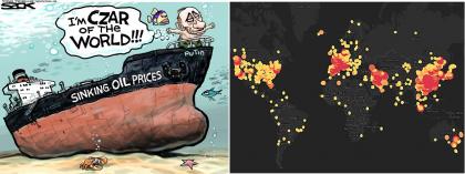 Split image: [left] Putin on sinking ship, [Right] Red/orange heatmap of world